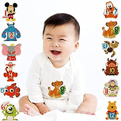 a5d192456350 Amazon.com  Disney Baby Boys Assorted Character Monthly Milestone Photo  Prop Belly Stickers