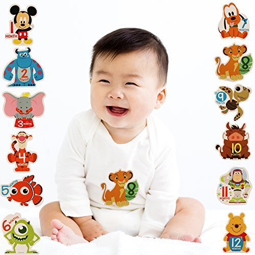 Baby Disney Characters (Disney Baby Boys Assorted Character Monthly Milestone Photo Prop Belly Stickers, 12 Sticker Gift Set,)