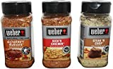 weber bbq sauce - Weber All Natural Seasoning Blend 3 Flavor Variety Bundle: (1) Weber Gourmet Burger Seasoning Blend, (1) Weber Steak 'N Chop Seasoning Blend, and (1) Weber Kick'N Chicken Seasoning Blend 7.25-8.5 oz each