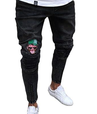 36cce84d34d7d Pantalones Vaqueros de los Hombres Rasgados Pantalones Vaqueros Ajustados  del Dril de algodón del Vintage Hip