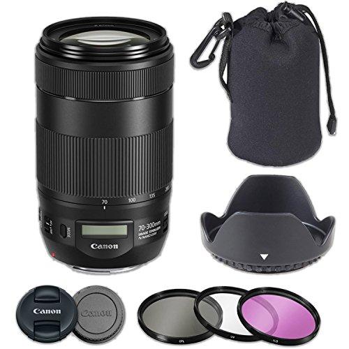 Canon EF 70-300mm f/4-5.6 is II USM Lens Bundle with Neoprene Case + Tulip Lens Hood + 3 Piece Filter Kit (Premier Lens Kit)