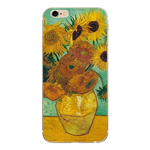 MISC Yellow Orange Van Gogh Painting Theme iPhone 8 Case Vincent Vase with Fifteen Sunflowers 7 Cover Artist Beautiful Art Iconic Artistic, Silicone ()