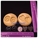 STEAMPUNK Heart & Compass Fondant Mold Set Chocolate Candy Gumpaste Soap Resin Clay