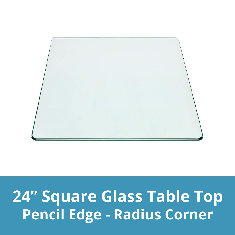 Square Glass Table Top 24 Inch Custom Annealed Clear Tempered, 3/8'' Thick Glass With Flat Polished Edge & Radius Corner For Dining Table, Coffee Table, Home & Office Use by TroySys
