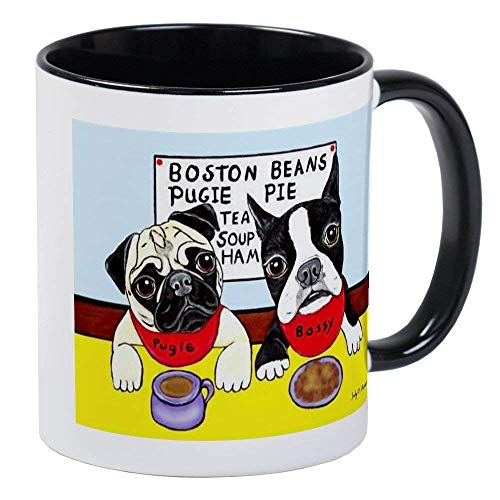 (Pug Mug - Ceramic 11oz RINGER Coffee/Tea Cup Gift Stocking Stuffer)