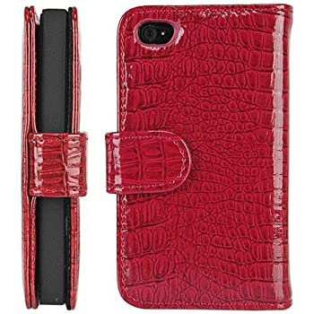 Amazon.com: Red Wallet Style Magnetic Flip Textured