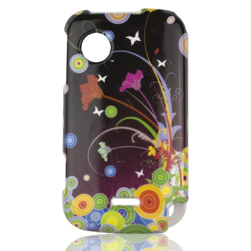 Talon Phone Case for Huawei M735 - Flower Art - MetroPCS - 1 Pack - Case - Retail Packaging - Black, Green, and Yellow