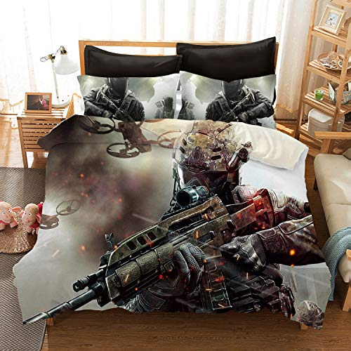 Call of Duty Cold War Bedding Sets Duvet Cover 3D Shooting Game Bed Set for Kids Teen Boys 1 Duvet Cover with 2 Pillowcases Full Size