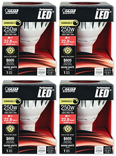 Feit Electric BR40/DM/2500/3K/LED Dimmable LED Light Bulb (Pack of 4), 120 Volts, 30 Watts, 2500 Lumens, BR40 Bulb Shape, Medium (E26) Base, 120 Beam Spread, 3000 Color Temperature, 6.3