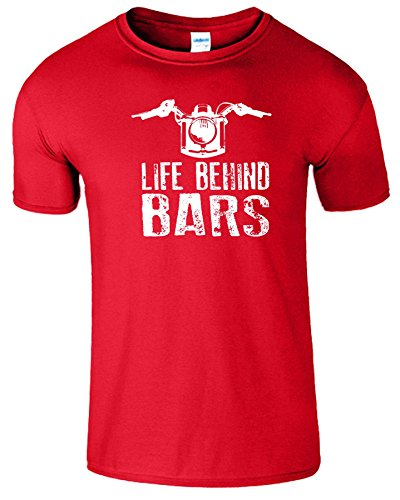 """SNS Online Rot (Red) / Weiß Design - XL - Brustumfang : 46"""" - 48"""" - Life Behind Bars Frauen Der Männer Damen Unisex T Shirt"""