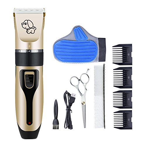RIRGI Dog Clippers Cat Shaver, Clippers Detachable Blades Cordless USB Rechargeable, Grooming Kit with Scissors, Combs, petGroomingGlove
