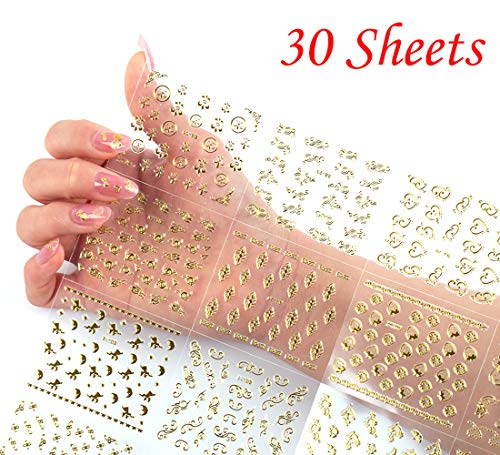 (Gold 3D Nail Stickers for Women Metallic Nail Decals Self Adhesive Nail Art Stickers Finger Toe Nail Decorations Applique Manicure Nail Art Supplies Accessories (30 Sheets))