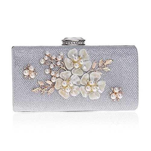 Color Pearl Silver Bag KERVINFENDRIYUN Dress Crossbody Evening Women's Silver Purse Handbag Lady Clutch Shoulder RpfPp1qw