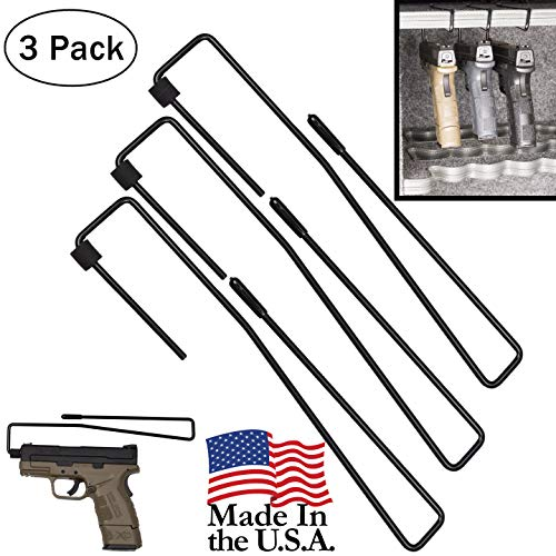 Hold Up Displays Pistol Hanger Gun Safe Shelf or Bookshelf Mounted Handgun Storage, HD84 Black (3 Pack)