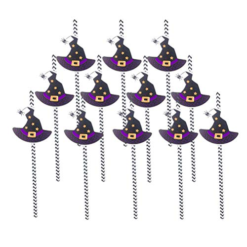 (Amsofun Halloween Party Straws Witch Hat Straws Party Drinking Supplies 12Pcs)