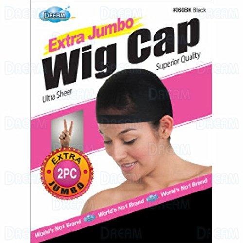 DREAM Deluxe Wig Cap Jumbo Black 2 pc (Model: 060), Spandex cap, Wig cap, Mesh cap, Snood, Hair net, Fish net