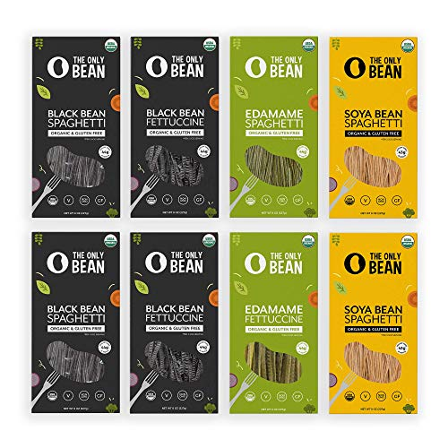 The Only Bean - Organic Edamame, Soy, Black Bean Spaghetti and Fettuccine Pasta, Gluten Free Noodles, 8oz (Variety Pack) (8 Pack)