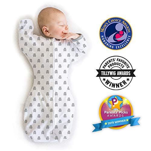 Amazing Baby Transitional Swaddle Sack with Arms Up Mitten Cuffs, Tiny Bear, Sterling, Small, 0-3 Months (Parents Picks Award Winner)