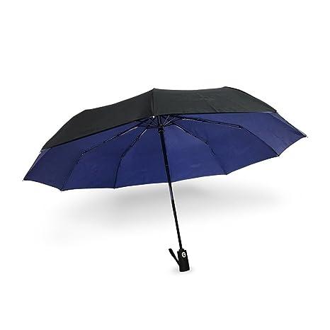 WoodyKnows Automático Apertura y Cierre Paraguas con 10 Varillas Parasol Plegable de Sol Protección UV Resistente