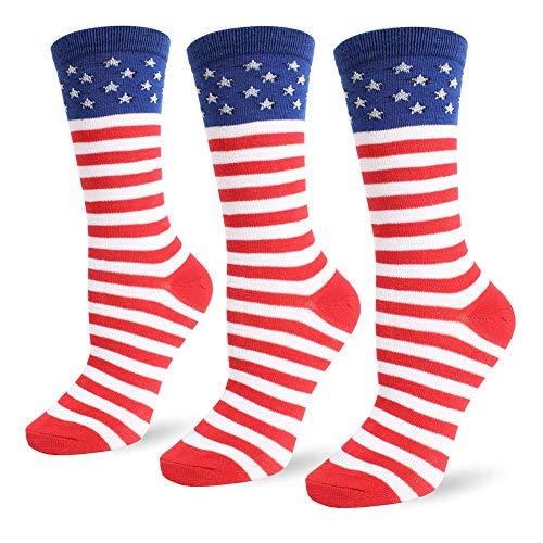 Flag long Sock American USA Knee High Christmas Socks Thigh High Patriotic Stockings (3 Pairs Flag Crew Socks) from JASMINO