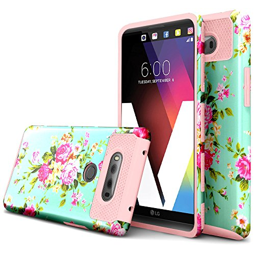 LG V20 Case,BAISRKE [Flower Series] [Premium Rugged] High Impact Heavy Duty Dual Layer Hard PC Outer and Shell with Soft Rubber Inner Armor Hybrid Protective Cover for LG V20 (2016) - Rose Gold