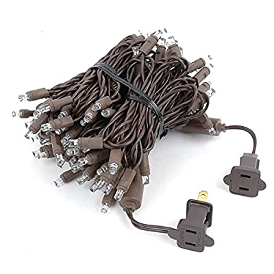 34 Foot 100 Light LED Outdoor Christmas Mini Light Set, Brown Wire