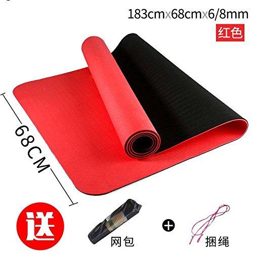 rouge and noir 68 8Mm( Beginner) YOOMAT Unique Tapis de Yoga 6 mm Tapis de Yoga TPE Starter épais antidérapant Fitness Supin Assis portable Extension MoveHommest96645
