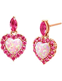 2 ct Created Opal & Pink Sapphire Heart Drop Earrings in 18K Rose Gold-Plated Sterling Silver