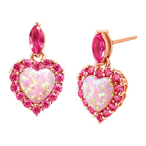 2 ct Created Opal & Pink Sapphire Heart Drop Earrings in 18K Rose Gold-Plated Sterling (Post Heart Shaped Opal Earrings)