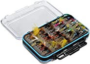 Mounchain Fly Fishing Flies Kit 64pcs Dry Flies Wet Flies Assortment Kit Handmade Fly Fishing Lures with Water