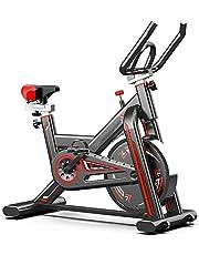 KirinSport Hometrainer fiets, LCD-display, indoor cycle met hartslagmeter, riemaandrijving & traploze weerstand, Speedbike magneetweerstand, fitnessbikes, max. gebruikersgewicht 150 kg