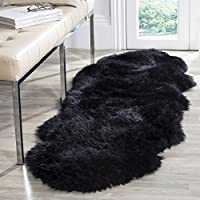 Safavieh Sheepskin Collection SHS121C Genuine Sheepskin Pelt Midnight Black Premium Shag Runner (2 x 6)