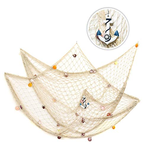 (king do way 79inch x 59inch Mediterranean Style Fishing Nets with Sea Shells and Anchor Decorative Background Wall Bar for Home)