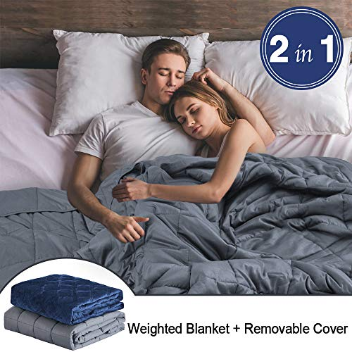 Weighted Blanket Adults (25 lbs, 60''x80''), Weighted Blanket with Removable Cover Fits Twin or Full Size Bed 100% Cotton Heavy Blanket with Glass Beads - Gray / Navy Blue