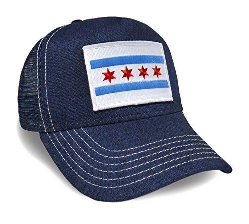 Strange Cargo Chicago Flag Denim Contrast Stitch Baseball Cap Hat - Contrast Stitch Jeans