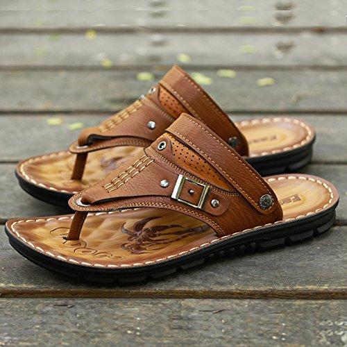 Doble Zapatillas sandals Casual De Moda Zapatos Verano Finalidad Brown Antideslizante Masculina Blanda 8819 Sandalias Calzado Coreano Inferior Playa Toe P4aqPwxr