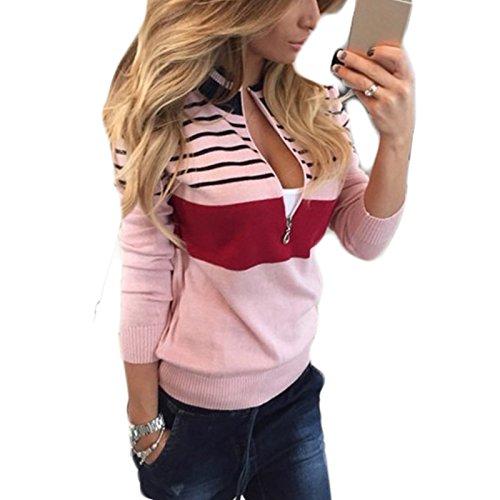 Casual Neck Cremallera Mujer Pullover Manga Sudaderas Rayas O Outwear Moda larga Suelto Hoodies Rosa Impresion Chaqueta 5nIxHxapqw