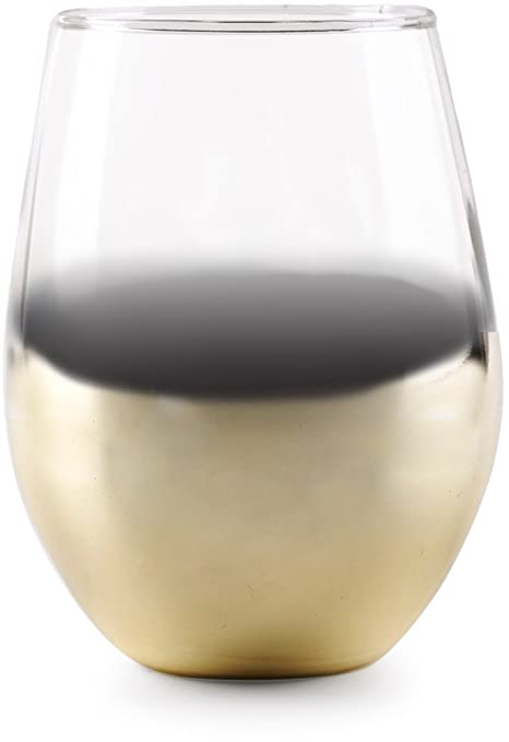 db504ed7a2a Circleware 76816 Gold Ombre Stemless Wine Glasses, Set of 4 Drinking  Glassware for Water,