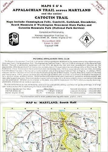 Offizielle Wanderkarte Appalachian Trail durch Maryland, Abschnitte ...