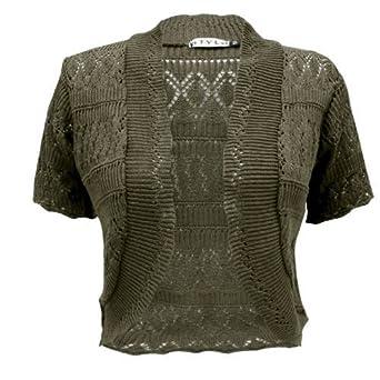 f4e42cae587 GENERATION FASHION NEW LADIES CROCHET KNITTED BOLERO SHRUG CARDIGAN WOMENS  CROPPED DRESS TOP KHAKI ML: Amazon.co.uk: Clothing