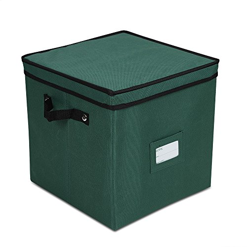 Propik Holiday Ornament Storage Box Chest, With 4 Trays Holds Up to 64 Ornaments Balls, With Dividers (Light Green Ball Ornament)