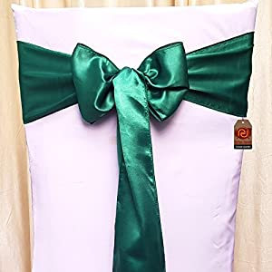 Parfair Dessin Pack of 10 Satin Chair Bow Sashes For Wedding Banquet Reception Party Decoration, Bright Silk and Smooth Fabric - Dark MINT