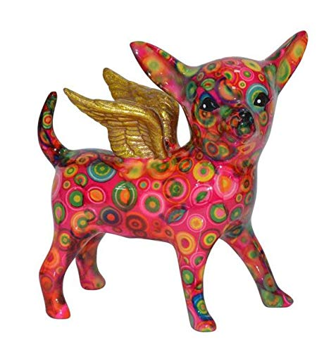 Laure TERRIER Pomme-Pidou Piggy Bank, Chihuahua Dog with Wings, Height 6,7 inches
