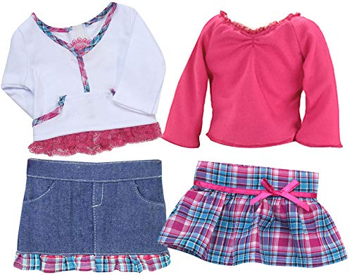 18 Inch Doll Clothing 4 Pc. Set Fits American Girl Dolls Clothes- of Hot Pink & Teal Plaid Doll Skirt Outfit + Denim Skirt W/Plaid Trim Doll Outfit -