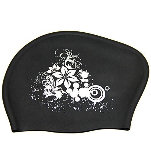 Peacoco Large Silicone Swim Cap for Women Girls Men and Adult, Swimming...