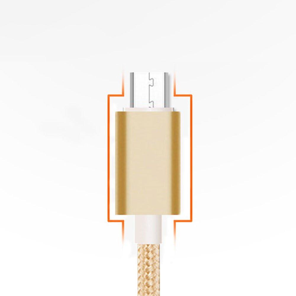 Hongfei C/âble Micro USB 1 M/ètre Nylon tress/é Android 2.4A cordon de synchronisation de donn/ées de charge rapide pour Samsung S7 S6 Edge Cam/éra Sony Nexus Sony PS4 XBox One argent Cewaal