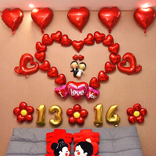 Valentine Passionate Hearts - Quietcloud A Group of Romantic Cheerful and Passionate Balloons I Love You 1314 Heart Flower Balloon Valentine's Day Wedding Room DIY Decor