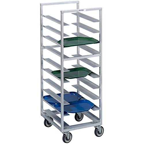 Channel T440A6 18 Tray Bottom Load Aluminum Trapezoidal Cafeteria Tray Rack - Assembled by Channel Manufacturing