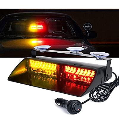 Xprite RED & Amber Yellow 16 LED High Intensity LED Law Enforcement Emergency Hazard Warning Strobe Lights For Interior Roof/Dash/Windshield With Suction Cups: Automotive