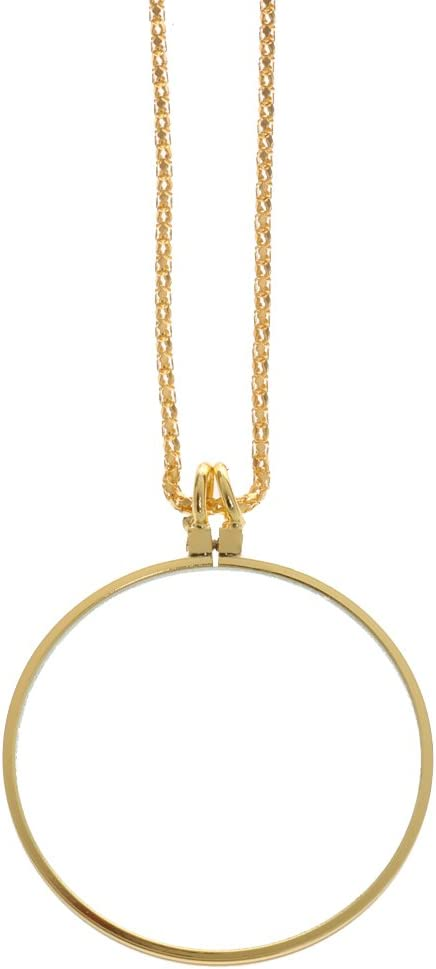 gold chain included magnifier on top 1 in diameter Drawing of tiny birds Gold photo pendant